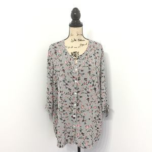Catherines 2X Shirt Striped Floral Button Down